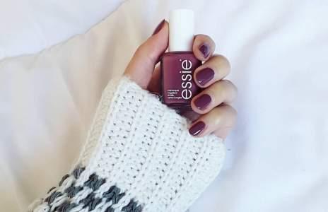 "Essie ""Angora cardi"" nail polish deep rose color"